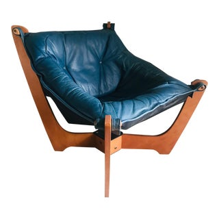 1970s Luna Lounge Chair by Odd Knutsen in Cadet Blue Leather For Sale