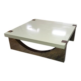 Henredon Furniture David Kleinberg Maslin Polished Nickel & White Lacquer Cocktail Table For Sale