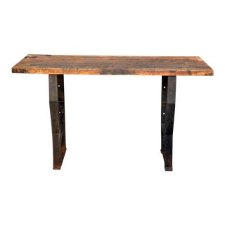 1920s Massive Patinated Industrial Console For Sale