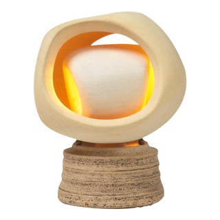Enigmatic Bisque and Stoneware Table Lamp by SculpLight For Sale