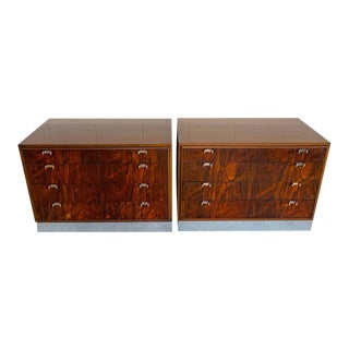 John Stuart Rosewood and Chrome Chests, Restored - a Pair For Sale