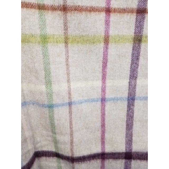 Beige Wool Throw Multi Color Stripes on Beige Background - Made in England For Sale - Image 8 of 12