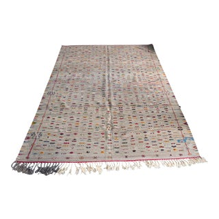 """Gray Flat Woven Moroccan Kilim Rug With Detailed Embroidered - 10'8"""" X 7'5"""" Ft For Sale"""