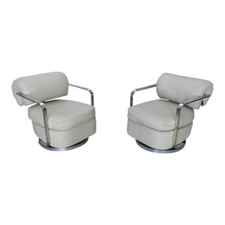 1970s Space Age Milo Baughman Chrome and Leather Lounge Chairs - a Pair