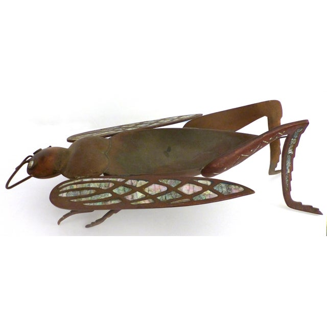 Los Castillo Brass, Copper & Abalone Grasshopper Dish attrib. Salvador Teran For Sale - Image 9 of 10