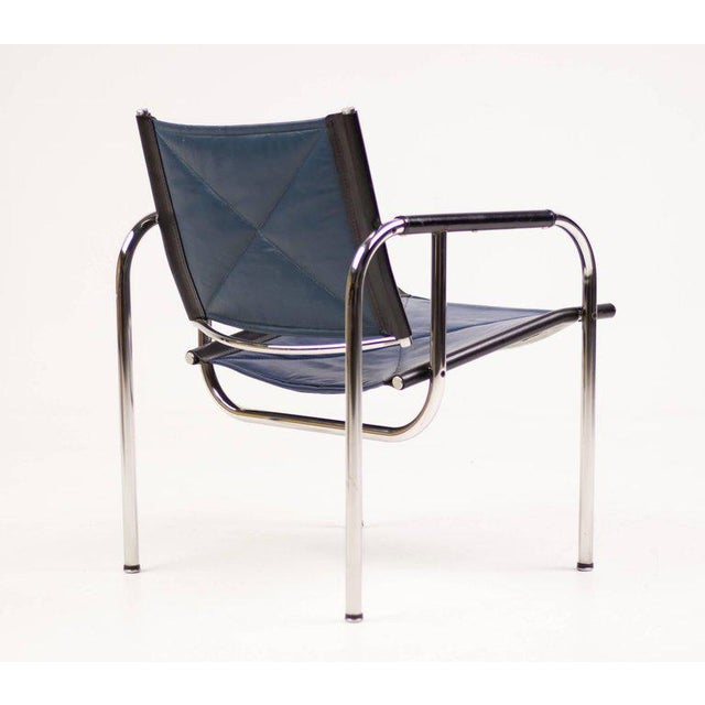 1950s Hans Eichenberger for Strassle Blue Leather Armchairs For Sale - Image 5 of 10
