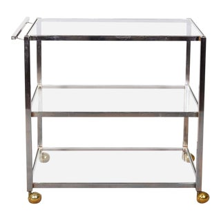 Mid-Century Chrome & Brass Bar Cart