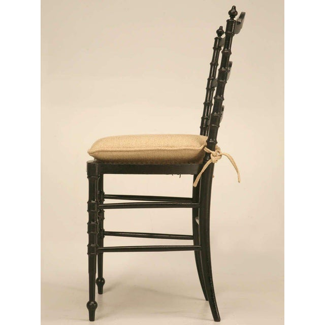 Linen Original Antique French Napoleon III Ladderback Chair With New Linen Pad For Sale - Image 7 of 10