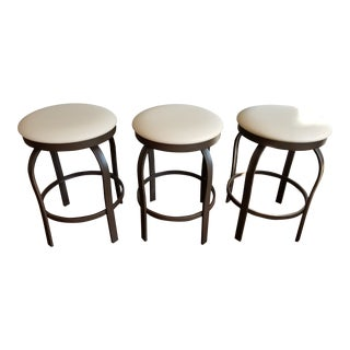 Mid-Century Modern Tan Leatherette Upholstered Bar Stools - Set of 3