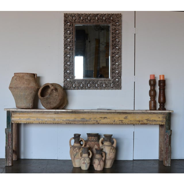 Paint Vintage Reclaimed Wood Teak Indian Console For Sale - Image 7 of 8