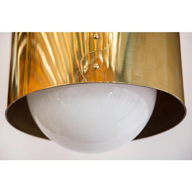 1960s Mid-Century Modern Brass Drum Shaded Pendant For Sale - Image 4 of 7