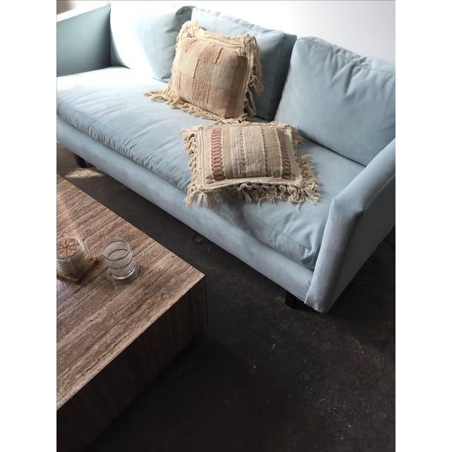 Mid-Century Rosewood Sofa in Mint Microsuede - Image 8 of 10