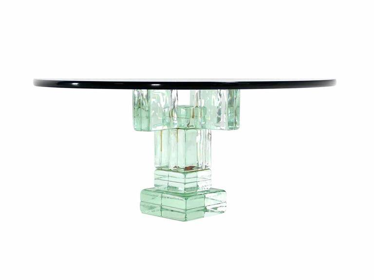 Iridescent Glass Block Base Round Coffee Table   Image 3 Of 5