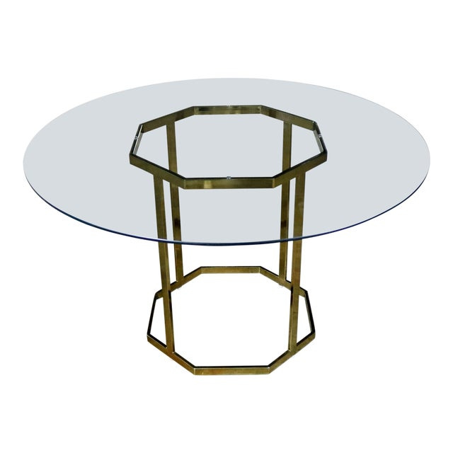Milo Baughman Style Octagon Brass Plated Metal Dining Table With Round Glass Top For Sale