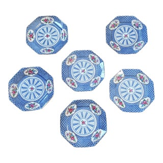 Set 6 Antique Early 20th Century Booth's Silicon Empire China Blue Floral Octagonal Salad Plates For Sale