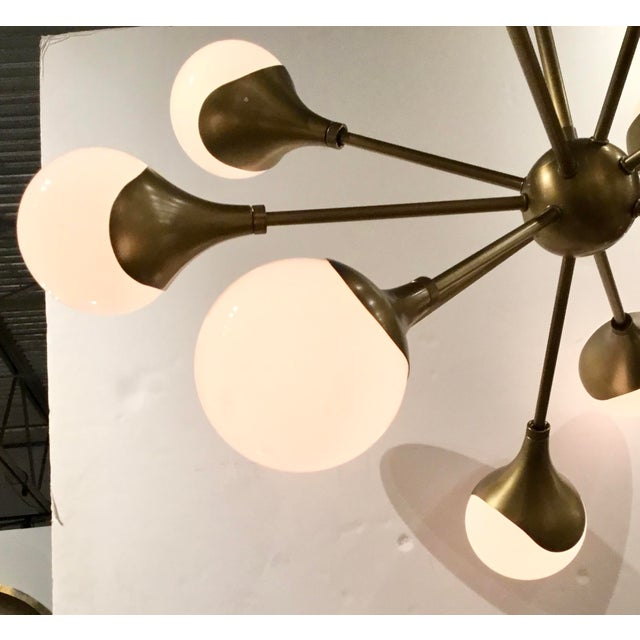 Arteriors Home Arteriors Mid-Century Modern Inspired Antique Brass Finished Augustus Chandelier For Sale - Image 4 of 6