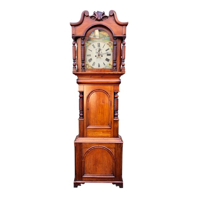 Mid 19th Century Antique English Fruitwood Grandfather Clock C.1840 For Sale - Image 5 of 5