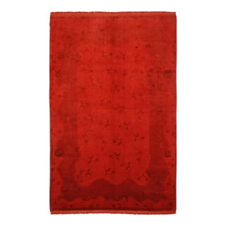 Vintage Red Overdyed Turkish Area Rug - 6'3 X 9'9