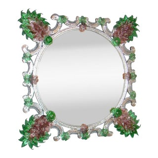 Fratelli Barbini - Green Venetian Mirror For Sale