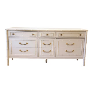 Vintage Thomasville Faux Bamboo 9-Drawer Dresser For Sale