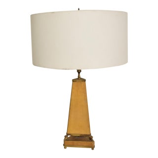 Mid Century Mexican Modernist Goatskin Table Lamp With Bronze Charros Arturo Pani For Sale