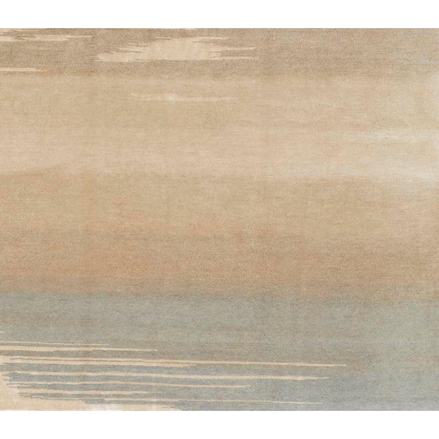 Contemporary Schumacher Patterson Flynn Martin Current Hand Knotted Wool Silk Modern Rug For Sale - Image 3 of 5