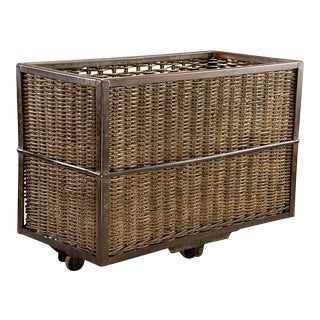 Large English Wicker Mill Basket on Cast Iron Wheels For Sale