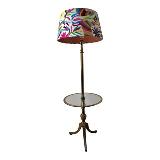 Mid-Century Modern Iron and Glass Floor Lamp with Otomi Embroidery Lamp Cover