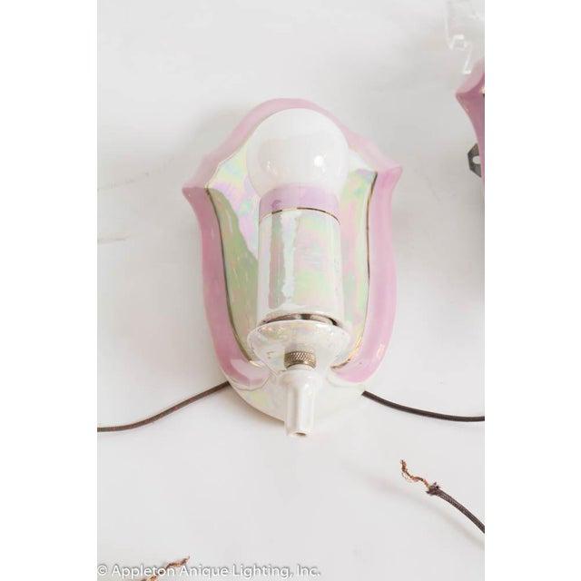 Ceramic Pair of Restored Vintage Pink Irridescent Porcelain Bathroom Sconces For Sale - Image 7 of 11