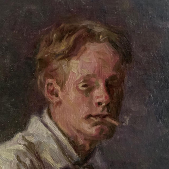 1900 - 1909 C1905 Artist Self Portrait Painting, Illegibly Signed For Sale - Image 5 of 9