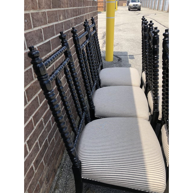 Set of 6 Black Wood Barley Twist Dining Chairs with black and white striped fabric seats. Great Condition! No flaws.