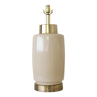 Vintage Mid-Century Modern Ceramic & Brass Table Lamp For Sale