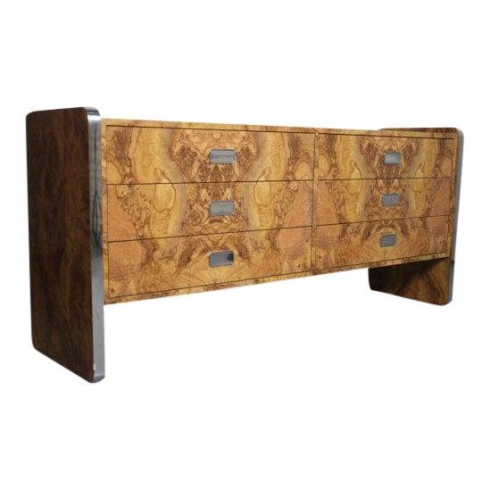 Burlwood Laminate & Chrome Dresser For Sale