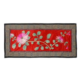 Vintage Chinese Embroidered Silk Cloth With Pink Flowers Against Red Backdrop For Sale