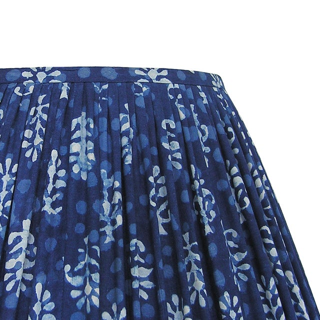 New, Made to Order, Indigo Blue Block Print Fabric, Large Pleated/Gathered Lamp Shade Shade For Sale - Image 4 of 4