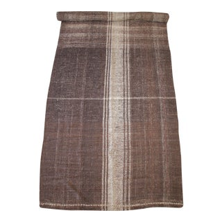 Vintage Beth Turkish Flat-Weave Rug in Brown and Cream Stripe For Sale
