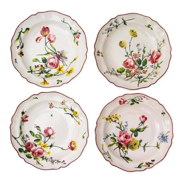 Antique French Faience Veuve Perrin Pottery Bowls - Set of 4 For Sale