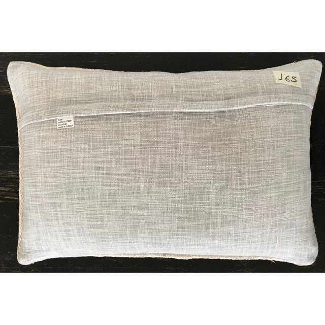 A beautiful minimalist and modern organic pillow hand tailored from vintage Turkish hemp kilim with linen back,hidden...