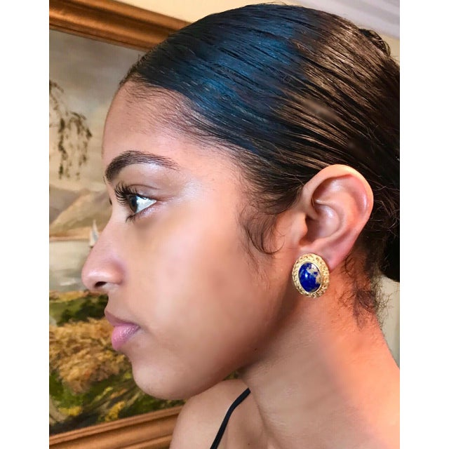 1950s 1950s Chinese Gold-Plated Sterling Silver Blue Sodalite Clip-Back Earrings For Sale - Image 5 of 6