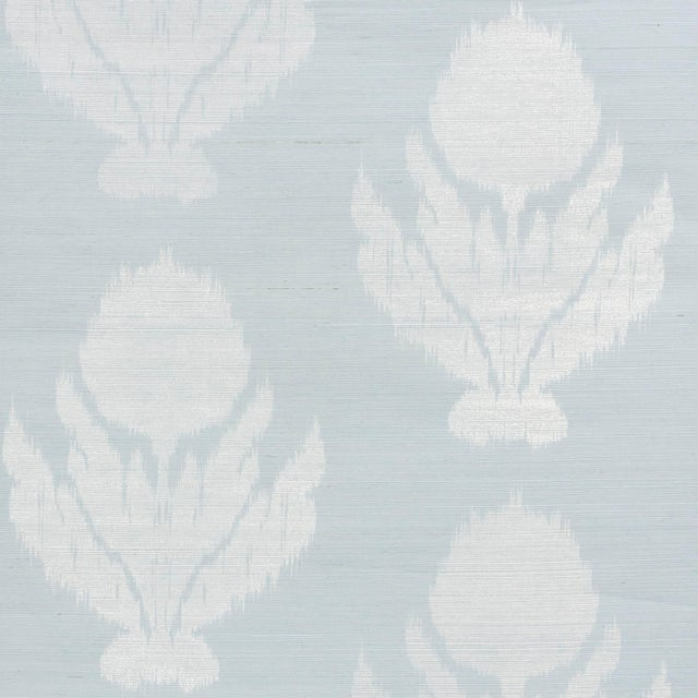 Early 21st Century Sample - Schumacher Agra Sisal Wallpaper in Sky For Sale - Image 5 of 5