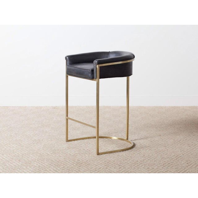 """Hollywood Regency """"Claudio"""" Brass Barstool For Sale - Image 6 of 6"""