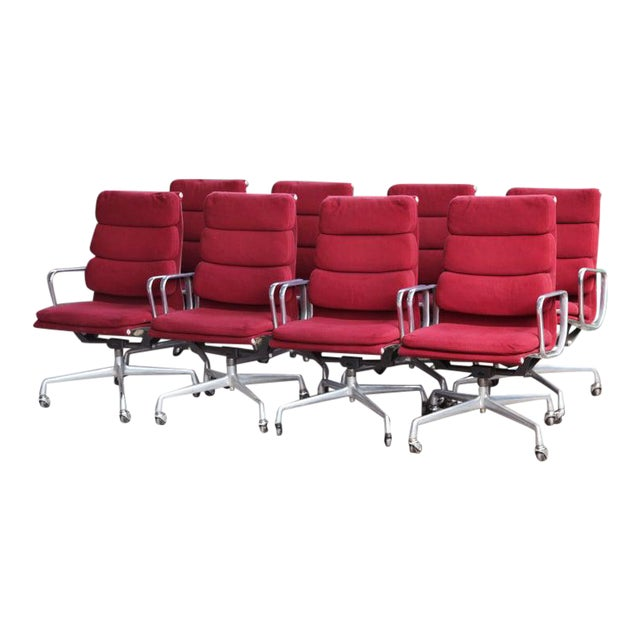 1970s Eames Herman Miller Aluminum Soft Pad Reclining Executive Lounge Chairs - Set of 8 For Sale