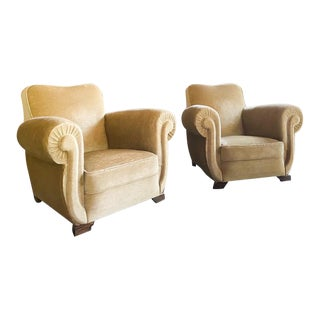 Vintage Early 20th Century Art Deco Style and Era Club Arm Chairs - a Pair For Sale