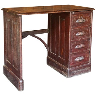 19th Century Victorian Petite Oak Writing Desk Table Bohemian Globe Brownstone For Sale