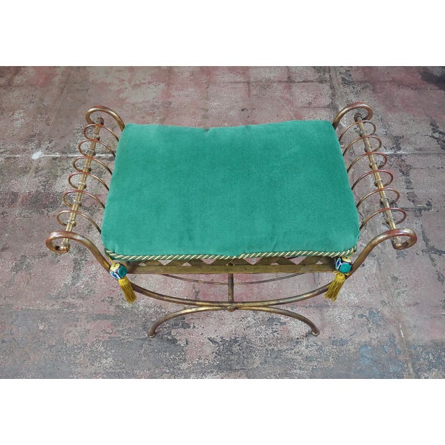 Beautiful Gilt Metal French Lady's Bench W/Velvet Pillow -C1920s For Sale - Image 4 of 10