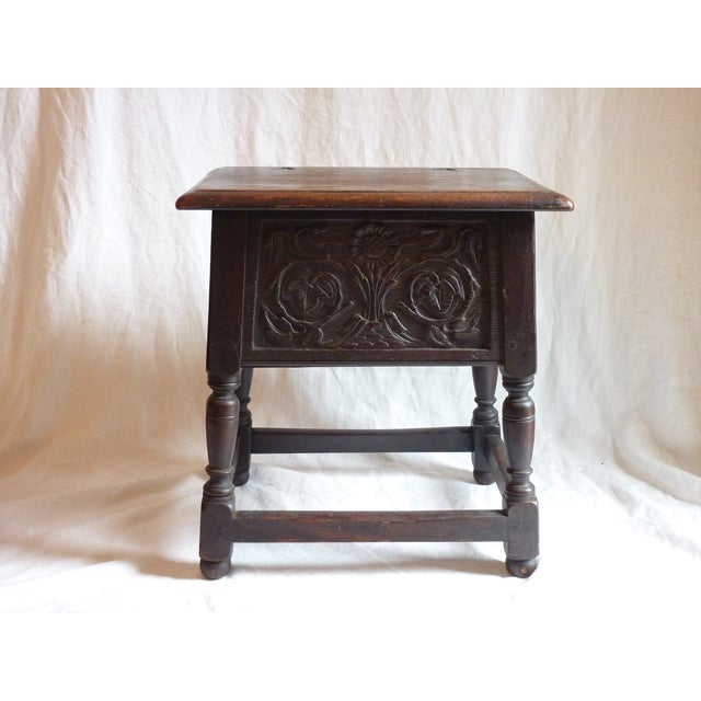 18th Century English Carved Oak Joint Stool - Image 6 of 6