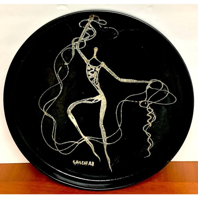 Mid 20th Century Midcentury Sascha Brastoff Abstract Nude Circular Gallery Tray For Sale - Image 5 of 10