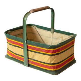 1950s Mid-Century Modern Folding Striped Picnic Basket