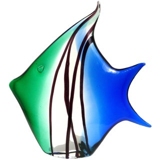 Archimede Seguso Murano Signed Blue Green Italian Art Glass Angel Fish Sculpture For Sale