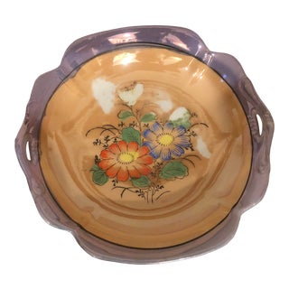 Vintage Floral Lusterware Dish For Sale